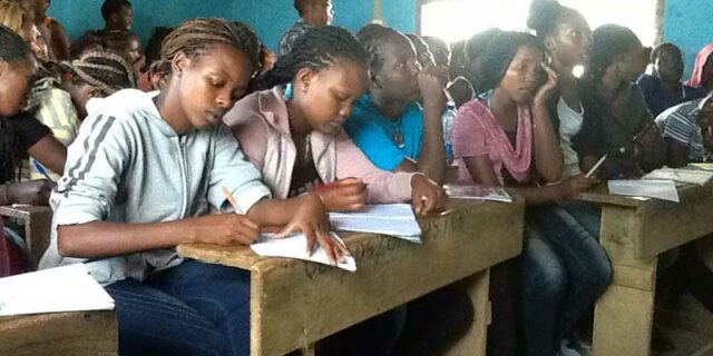 Girls studying at PCF workshop